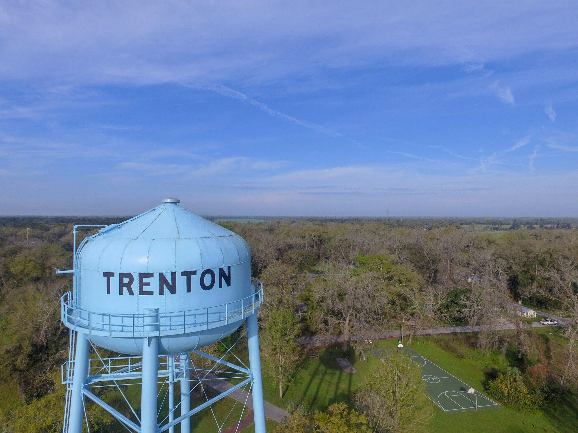 aerial view of trenton water tower